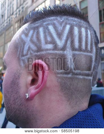 Unidentified football with Super Bowl XLVIII hair style in Manhattan
