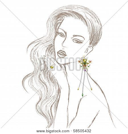Beautiful Lady with diamond earring and ring