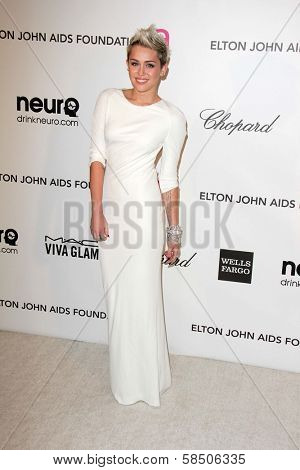 Miley Cyrus at the Elton John Aids Foundation 21st Academy Awards Viewing Party, West Hollywood Park, West Hollywood, CA 02-24-13