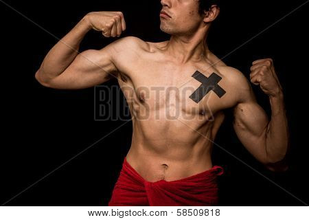 Young Athletic Shirtless Man Posing On Black Background