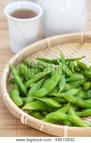 edamame, boiled green soy beans, japanese food