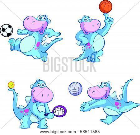 cute blue dino sport set