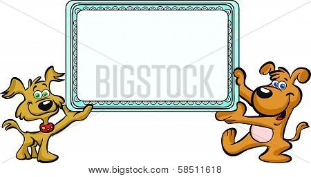 cute dogs holding frame