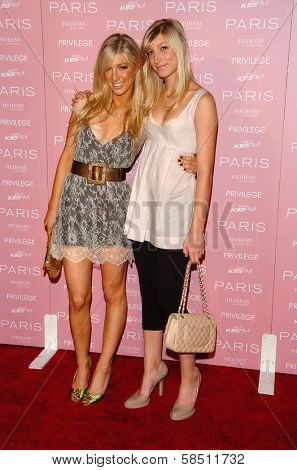 HOLLYWOOD - AUGUST 18: Caleigh Peters and her sister Skye at the party celebrating the launch of Paris Hilton's Debut CD