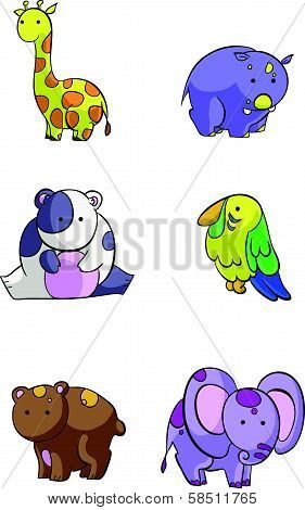 cute set of safari animals