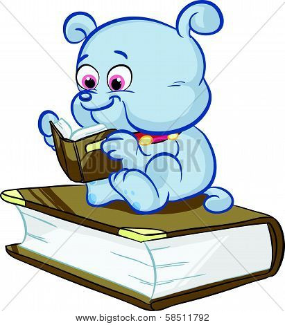 cute blue dog reading a book
