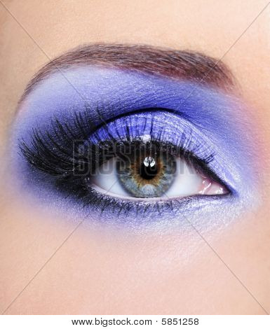 Light Blue Make-up Of Woman Eye