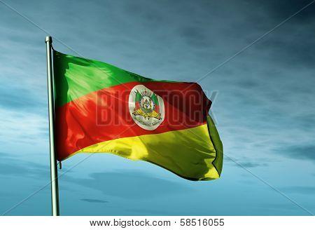 Rio Grande do Sul (Brazil) flag waving in the evening
