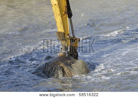 Dredging Harbor With Excavator