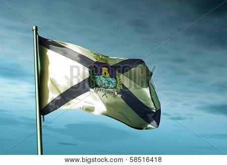 Fortaleza city (Brazil) flag waving in the evening