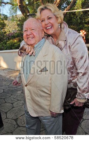 MALIBU, CA - AUGUST 05: Mickey Rooney and wife Jan at