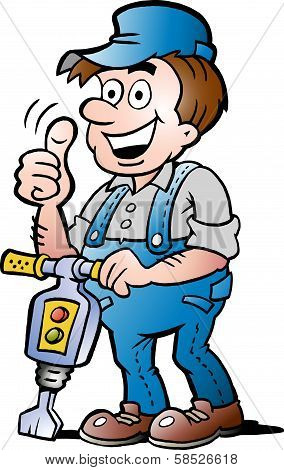 Hand-drawn Vector Illustration Of An Happy Construction Worker