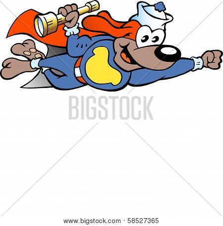 Hand-drawn Vector Illustration Of An Happy Flying Super Hero Sailor Watch Dog