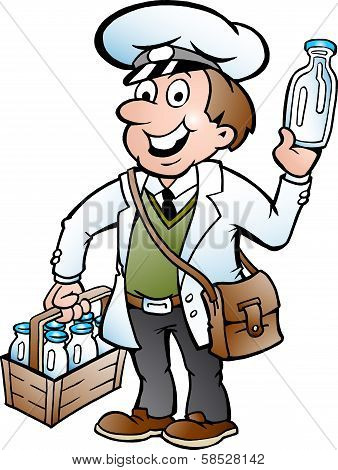 Hand-drawn Vector Illustration Of An Happy Milkman