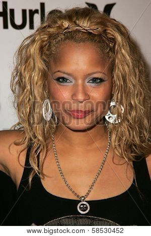 HOLLYWOOD - AUGUST 02: Blu Cantrell wearing Clothing by Antik Denim at Saturn's X-Games 12 Party at 6820 Hollywood Blvd on August 02, 2006 in Hollywood, CA.