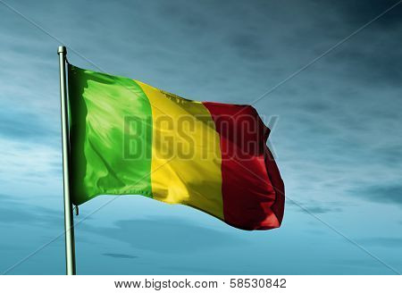 Mali flag waving in the evening