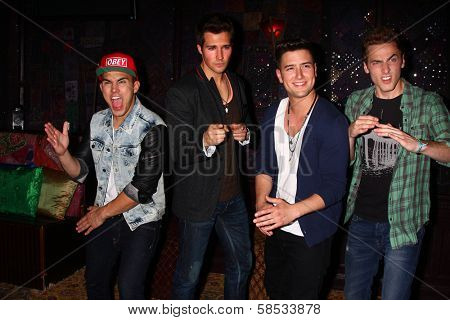 Carlos Roberto Pena Jr., James Maslow, Logan Henderson and Kendall Schmidt at the Big Time Rush Press Conference And Tour Announcement , House of Blues, West Hollywood, CA 04-01-13