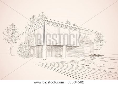 Vector sepia sketch of house with swimming pool