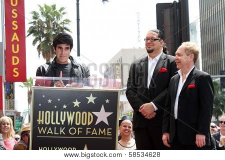 David Copperfield, Penn Jillette, Teller at Penn & Teller's induction into the Hollywood Walk Of Fame, Hollywood, CA 04-05-13