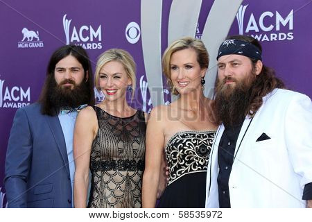 Jessica Robertson, Korie Robertson, Willie Robertson and Jep Robertson of Duck Dynasty at the 48th Annual Academy Of Country Music Awards Arrivals, MGM Grand Garden Arena, Las Vegas, NV 04-07-13