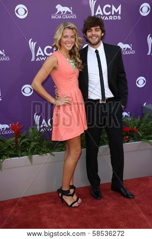 Thomas Rhett and Lauren Akins at the 48th Annual Academy Of Country Music Awards Arrivals, MGM Grand Garden Arena, Las Vegas, NV 04-07-13