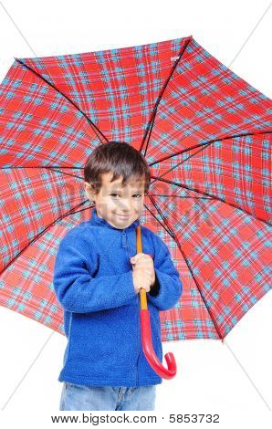 Very Cute Little Boy In Autumn Clothes And With Umbrella Isolated