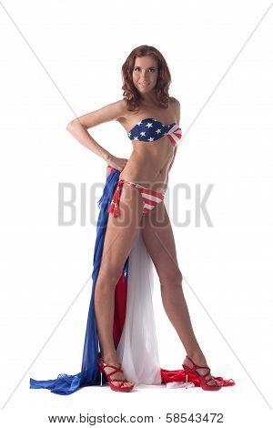 Pretty leggy model advertises patriotic bikini