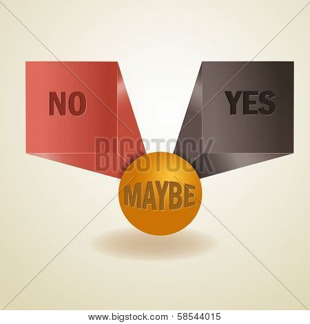 Yes, No, Maybe, 3D Sign