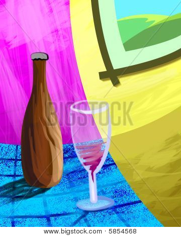 bottle and wine glass
