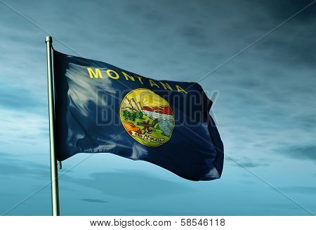 Montana (USA) flag waving on the wind