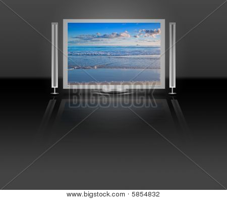 Plasma Lcd Tv With Beach Nature Scene