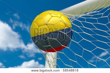 Colombia Flag And Soccer Ball In Goal Net