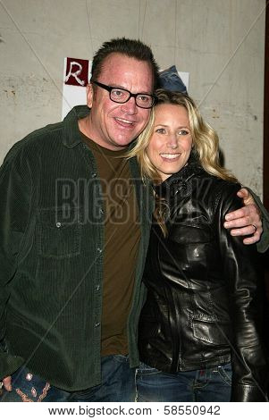 LOS ANGELES - APRIL 24: Tom Arnold and wife Shelby at the Brandon Davis and Replay celebrate store opening and the launch of The Brandon Davis Jean at Falcon on April 24, 2006 in Los Angeles, CA.