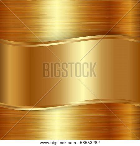 Vector gold  brushed metallic plaque background