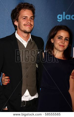 Johnny Simmons, Mae Whitman at the 24th Annual GLAAD Media Awards, JW Marriott, Los Angeles, CA 04-20-13