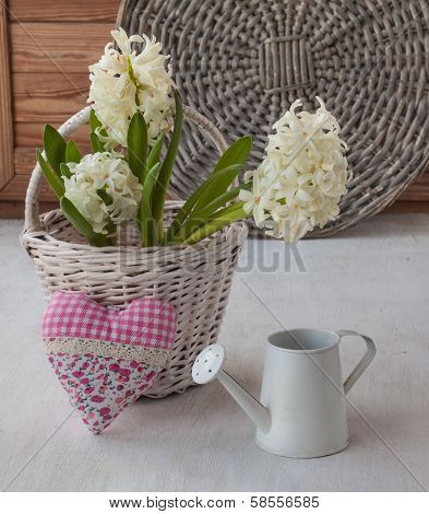 White Hyacinths And Heart