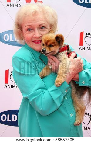 BEVERLY HILLS - APRIL 29: Betty White at the Old Navy Nationwide Search for a New Canine Mascot at Franklin Canyon Park on April 29, 2006 in Beverly Hills, CA.