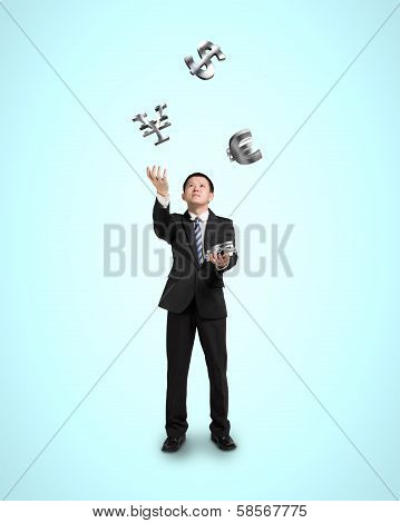 Businessman Throwing And Catching 3D Money Symbols