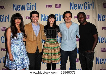 Hannah Simone, Max Greenfield, Zooey Deschanel, Jake M. Johnson and Lamorne Morris at the