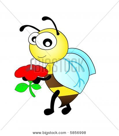 cute bee taking a sip from  flower
