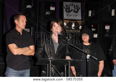 Mike Malinin, John Rzeznik, Robby Takac at the Goo Goo Dolls RockWalk Induction, Guitar Center, Hollywood, CA 05-07-13