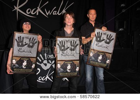 Robby Takac, John Rzeznik, Mike Malinin at the Goo Goo Dolls RockWalk Induction, Guitar Center, Hollywood, CA 05-07-13