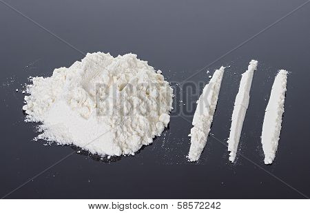 powder Cocaine close-up On A Black Background