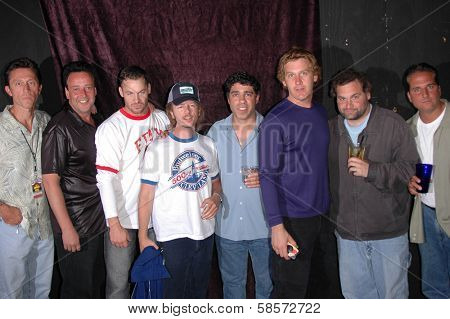 Michael Sponberg, Bob Levy, K.C. Armstrong, David Spade, Gary Dell'Abate, Jim Florentine, Artie Lange and Nick Di Paolo at the FM Talk Brew Ha Ha comedy show in Agoura Hills, CA 06-12-04