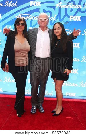 Stella Arroyave, Anthony Hopkins and niece at the American Idol Season 12 Finale Arrivals, Nokia Theater, Los Angeles, CA 05-16-13