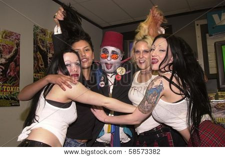 Fan Sierra, Tromettes Anna Lynn, Damiana and Dementia with Count Smokula at the in store appearance by Troma Founder Lloyd Kaufman, Wherehouse Records, Van Nuys, CA 08-08-2002