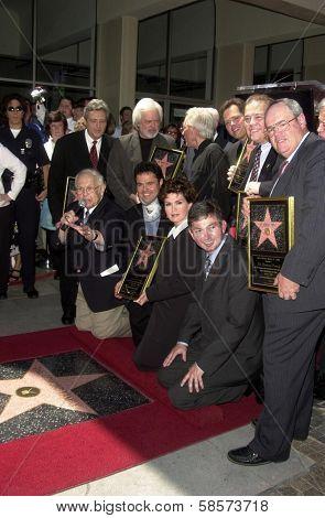Jay Osmond, Merrill Osmond, Vernon Osmond, Andy Williams, Jimmy Osmond, Alan Osmond, Wayne Osmond, Tom Osmond, Johnny Grant, Donny Osmond, Marie Osmond, Leron Gubler at the Hollywood Walk of Fame, CA 08-07-03