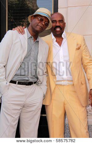 Samuel L. Jackson, Steve Harvey at the Steve Harvey Star on the Hollywood Walk of Fame, Hollyood, CA 05-13-13