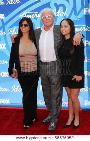 Sir Anthony Hopkins, wife Stella Arroyave, and niece at the American Idol Season 12 Finale Arrivals, Nokia Theater, Los Angeles, CA 05-16-13