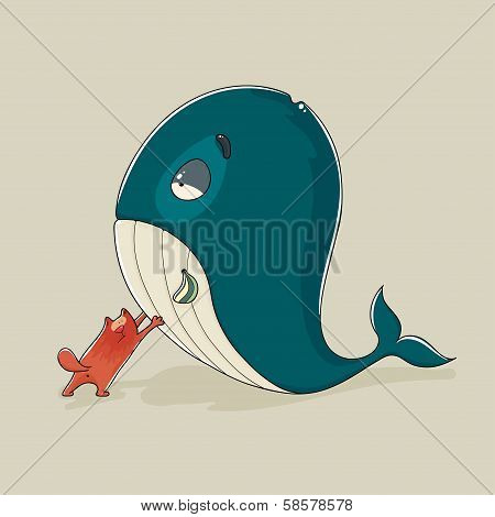 Cute cat with a sickly whale